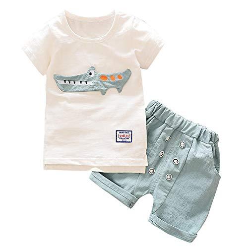Baby-Sommerkleidung für Jungen Mädchen Shark gedruckt T-Shirt Top und Shorts 2 Stück Outfit