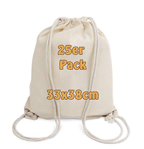 Cottonbagjoe Baumwollrucksack für Kinder | klein, 33x38cm | mit Kordelzug, Natur | 33x38cm | Turnbeutel | Jutebeutel (25 Stück)