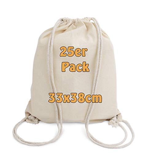 Cottonbagjoe - Zainetto in cotone per bambini, 33 x 38 cm, con coulisse, 33 x 38 cm, colore naturale, Cotone, naturale, 25 pezzi