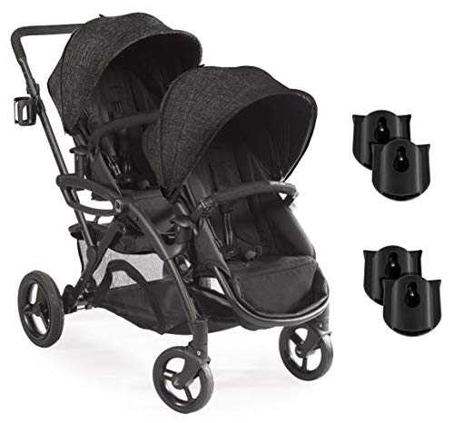 Contours Options Elite Double Stroller + Two Zy009 Britax Infant Car Seat Adapters