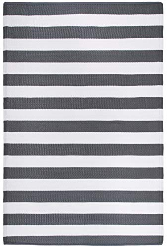 FH Home Indoor/Outdoor Recycled Plastic Floor Mat/Rug - Reversible - Weather & UV Resistant - Brittany Stripe - Gray & White (6' x 9')