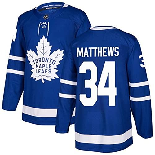 WANGT Herren Eishockey Trikots Toronto Team 44 RIELLY 43 Kadri 31 34 Genähte Buchstaben Zahlen Langarm T-Shirt Atmungsaktive Sweatshirts,34,3XL
