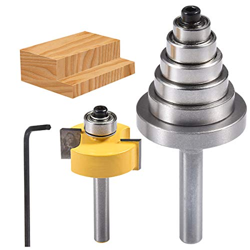 HOHXEN Rabbet Router Bit with 6 Adjustable Bearings Set for Multiple Depths(1/8