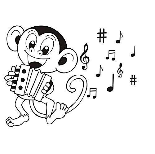 Abnehmbarer Vinyl Wandaufkleber Kinderzimmer Produkt Cartoon Affe spielt Akkordeon Musik Symbol DIY Aufkleber 59x45cm