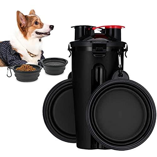 Tragbare Wasserflasche und Futterflasche 2-in-1 Trinkflasche mit 2 Faltschüsseln für Hunde,hundenapf faltbar Wassernapf für Camping, Spaziergang, Wandern, Training, Unterwegs (schwarz)