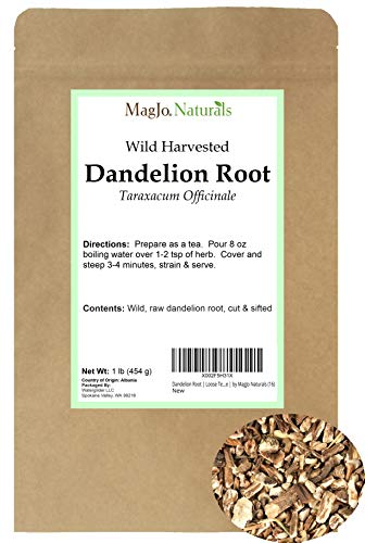 Dandelion Root   Raw, Not Roasted   Loose Tea (200+ Cups)   16oz Resealable Kraft Bag   100% Wild-Crafted From Eastern Europe   by MagJo Naturals (16)
