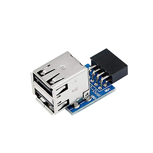 SinLoon 9pin USB 2.0 Female Pin Dual 2 Port USB Motherboard Header Adapter-Dual Layer Type for PC (Dual)