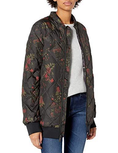 Volcom Damen Casco DOWN Puff 2 Layer Shell Snow Jacket Isolierte Jacke, Black Floral Print, X-Klein