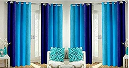 Home FURNISHINGS Faux Silk and Long Crush Curtains (Blue) - Set of 4