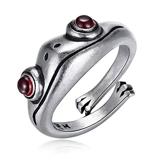 Shubiao Anillo de rana retro personalidad ani maruni granate rojo anillo