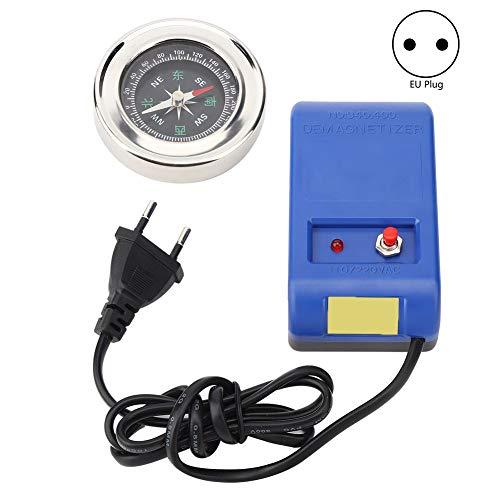 Elektrische Entmagnetisierungswerkzeuge + Kompass-Set, Uhrenentmagnetisierer für Uhrenreparatur-Entmagnetisierer 110 V - 220 V, ABS + elektronische Komponenten Material(EU Plug)