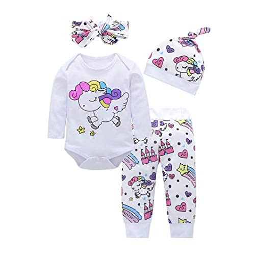 Bebé Mono, ASHOP Recién Nacido Bebé Baratas Mono Niña Impresión Romper Manga Larga Bodies Ropa Casual Jumpsuit + Pantalones + Cap + Venda 0-18 Meses (70 (0-3meses), Blanco)