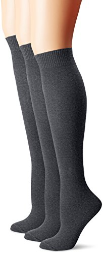 Hue Women's Flat Knit Knee Sock 3 Pack, Graphite Heather, One Size