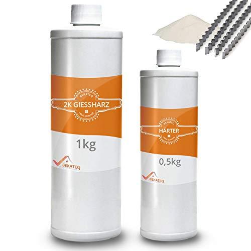 BEKATEQ Epoxidharz Set BK-450EP Gießharz zum ausbessern und reparieren - 1,5kg Harz, 1kg Sand, 30 Klammern - farblos