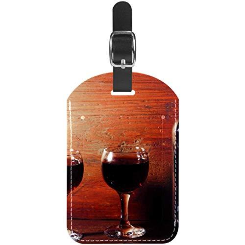 Etichette per bagagli, bicchieri da vino rosso e bottiglia in pelle, etichette per valigie, 1 confezioni