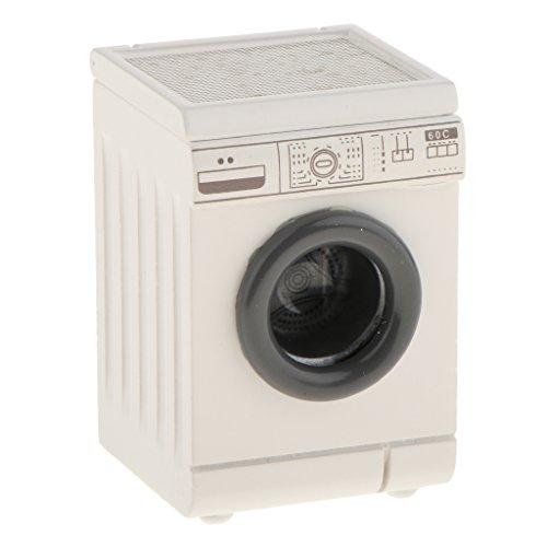 1/12 Puppenhaus Haushaltsgerät Miniatur Weiße Tumbling-Box Waschmaschine aus Holz - 5,5 * 5,3 * 8,2 cm