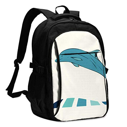 XCNGG Whale Fish is Jumping Travel Laptop Backpack College School Bag Casual Daypack with USB Charging Port