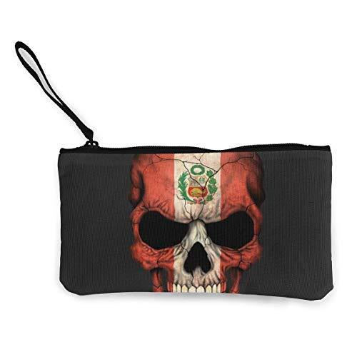 Cartera del Monedero de la Lona de la Cremallera del cráneo de la Bandera de Perú, Bolso del Maquillaje, Bolso del teléfono móvil con la manija