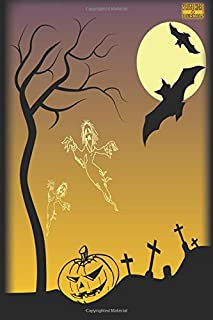 """Write Here Journals: Halloween Journal Edition Custom Notebook Lined Paper 100 Pages 6""""x9"""" Glossy Cover Finish Haunted Hal..."""