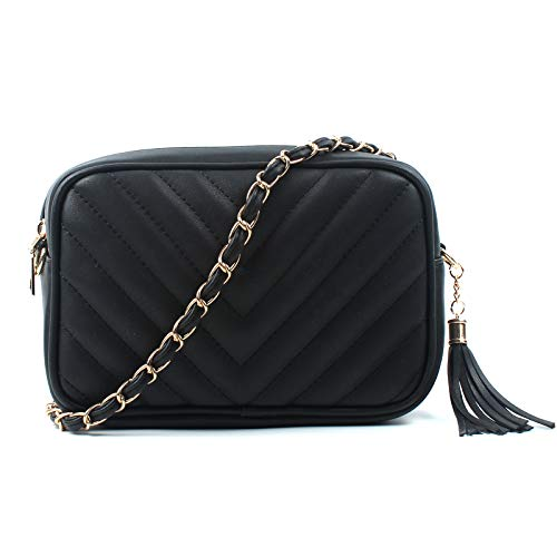 Aossta Women Ladies Shoulder Quilted Handbag Gold Chain Faux Leather Cross Body Bag (0839 Large, Black)
