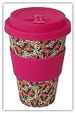 Happy Earth Blossom (Taza de café ecológica Reutilizable 450 ml, Hecha con Fibra de bambú Natural orgánica, se Puede Utilizar como Taza de Viaje o Taza de café casera) …
