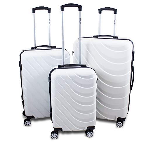 BERWIN® Kofferset 3-teilig Reisekoffer Trolley Hartschalenkoffer ABS Teleskopgriff Modell Wave 2018 (Weiß)