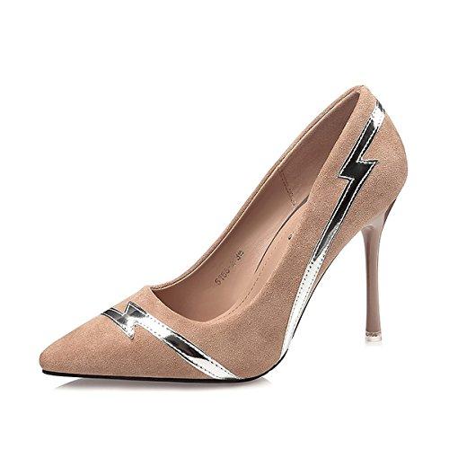 DIMAOL Damenschuhe Kunstleder Frühling Herbst Komfort Heels Stiletto Heel Schuhe für Kleid Khaki Rot Grau Schwarz, Khaki, Us7.5/EU38/UK5.5/CN 38