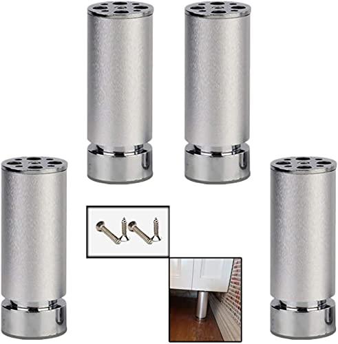 FTYYSWL Patas de Mesa de Metal 4X, Patas de Muebles de Repuesto Ajustables de Altura, gabinetes de aleación de Aluminio Sofá Feets, pies de Mesa de café, Hardware de Muebles