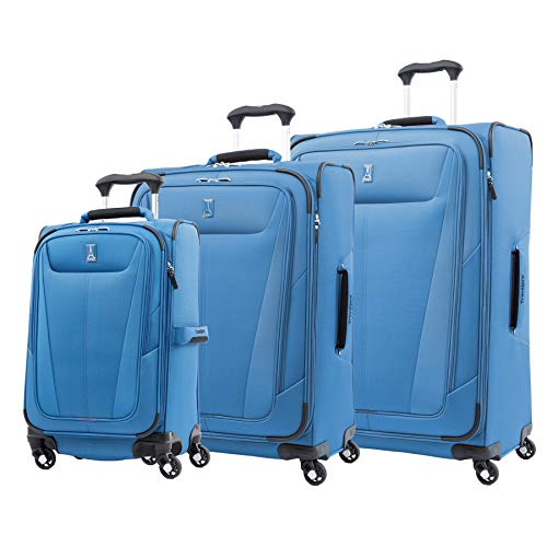 Travelpro Maxlite 5 - Softside Expandable Spinner Wheel Luggage, Azure Blue, 3-Piece Set (21/25/29)