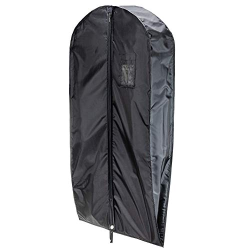 HANGERWORLD Black 44inch Waterproof Nylon Multiple Garment Coat Clothes Carry Cover Protector Bags 6inch Gusset