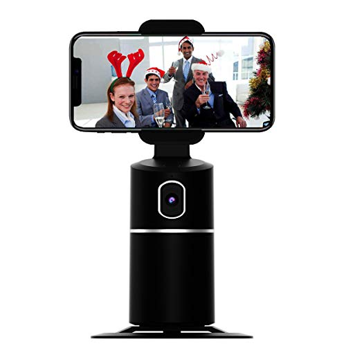 Face Tracking Cell Phone Stand Desktop Phone Holder Dock with 360° Rotate Smart Object Track Camera Cradle Compatible with iPhone Android for Vlog Shooting Live Streaming Video Chat Face Time Call