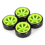 aixu Juego De 4 Neumáticos RC Drift para 1/10 Traxxas Hsp Tamiya, Piezas De Coche A La Deriva En Carretera, Verde