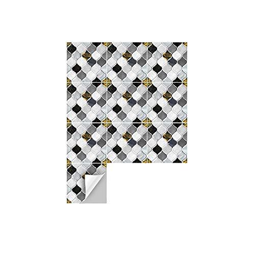 Hiser 10 Piezas Adhesivos Decorativos para Azulejos Pegatinas para Baldosas del Baño/Cocina Estilo de Mosaico de Flores de Vid Resistente al Agua Pegatina de Pared (En Blanco y Negro,15 x 15cm)
