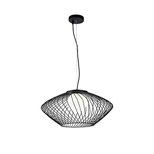 Suspension Design, 1 Lampe, Style Moderne, Art Deco, Armature en Métal couleur Noir avec la cage, plafonnier en verre couleur blanc, 1 ampoule, excl. E27 40W 220-240V