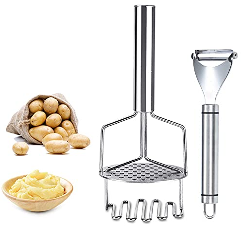 Stainless Steel Mashed potatoes Potato Ricer Presser Heavy Duty Potato Masher Kitchen Tool Stainless Steel Hand Plate Food Masher Vegetable Fruits {Expires:12/8} [Coupon: 40TNFQWJ] (40% off) - $ 8.39