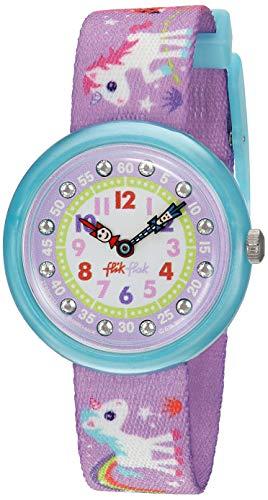 Flik Flak FBNP033 MAGICAL UNICORNS Uhr Mädchen Kinderuhr Einhorn Stoffband Kunststoff 30m Analog violett Zirkonia