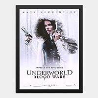 ハンギングペインティング - アンダーワールド ブラッドウォーズ 1のポスター 黒フォトフレーム、ファッション絵画、壁飾り、家族壁画装飾 サイズ:33x24cm(額縁を送る)