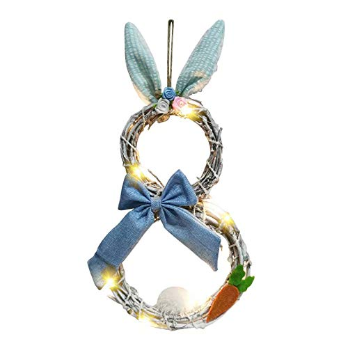 KAISILIN Easter Decorations With Lights Decorating Rattan Circle,Easter Bunny Wreath with Lights,Wreath Ornaments Cute Bunny Shape Decorations Easter Gifts for Easter Door Window (Blue)