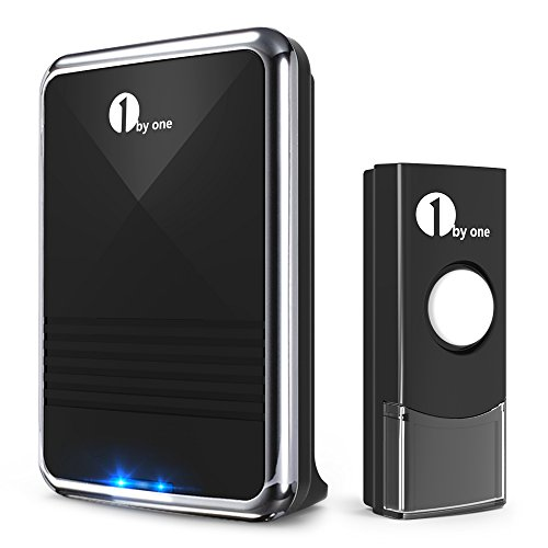 1byone Easy Chime Wireless Doorbell Kit, 1 Receiver & 1 Push Button with Sound and LED Flash, 36 Melodies to Choose, Battery Operated