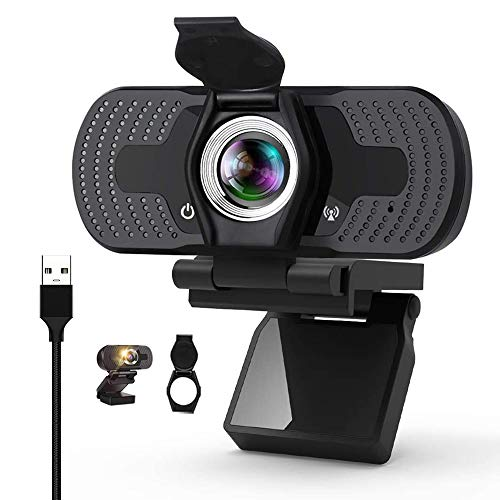 Webcam HD 1080P Webcam with Microphone Webcam Privacy Cover,Laptop, Computer, Desktop Plug and Play Web Camera for Live Streaming, Video Chat, Conference, Recording, Online Classes, Game