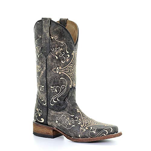 CORRAL Women's L5078 Circle G Embroidery Leather Cowgirl Boots, Brown Crackle/Bone, 10 Medium