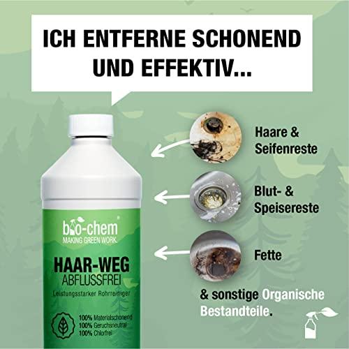 bio-chem® HAAR-WEG Abfluss-Frei | 1000 ml | Abflussreiniger | Rohrreiniger | Rohrreinigung | Rohrfrei | Abflussrohr | Geruchskiller | Entfernt und löst hartnäckigste, organische Verstopfungen - 2