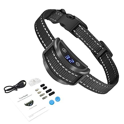 POHOVE Collar de ladridos para Perros Collar Recargable para Detener ladridos para Perros Collar de Entrenamiento de ladridos con 5 sensibilidad Ajustable para Perros pequeños y medianos(Negro)