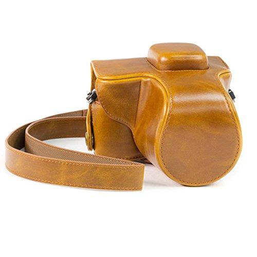 """MegaGear """"Ever Ready"""" Funda protectora de cuero de la cámara, bolso para Olympus E-PL7 14-42mm Lente (Marrón claro)"""