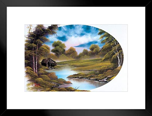 Poster Foundry Bob Ross Lakeside Cabin Kunstdruck, Malerei-ProFrames 20x26 inches Matted Framed Poster