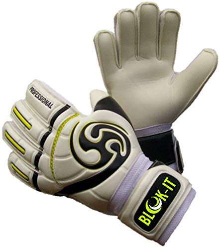 Blok-IT Goalie Gloves. Fingersave Goalkeeper Gloves for Soccer. Kids, Youth & Adult Sizes. Make The Toughest Saves - Extra Protection & Padding. (Fluorescent Yellow, Size 11=Adult-XL)
