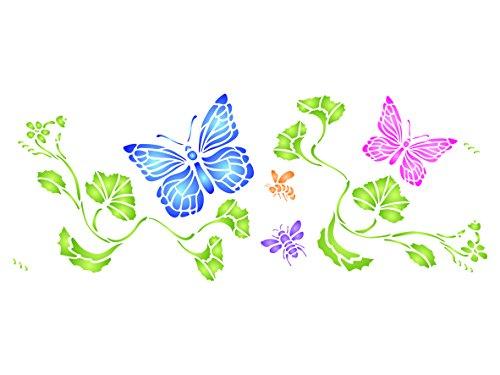 Schmetterling Grenze Schablone–42x 16,5cm–wiederverwendbar Schmetterlinge Bienen Insekten Wand Schablone–Vorlage, auf Papier Projekte Scrapbook Tagebuch Wände Böden Stoff Möbel Glas Holz usw.