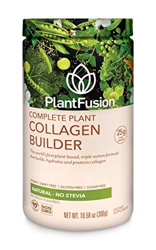 PlantFusion Collagen Builder Plant Based Peptides Protein Powder | Vegan Collagen Supplement |Collagen Building, Skin Hydration, Joint Support, Healthy Hair, Gluten-Free, Non-GMO, Unflavored 10.58 Oz