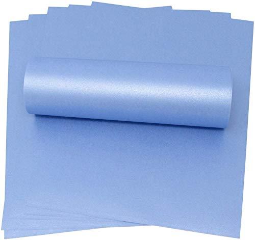 Papier im A4-Format, Maya-Blau, mit schimmernder Perlmutt-Optik, 100 g/m², geeignet für Tintenstrahl- und Laserdrucker, 20 Blatt