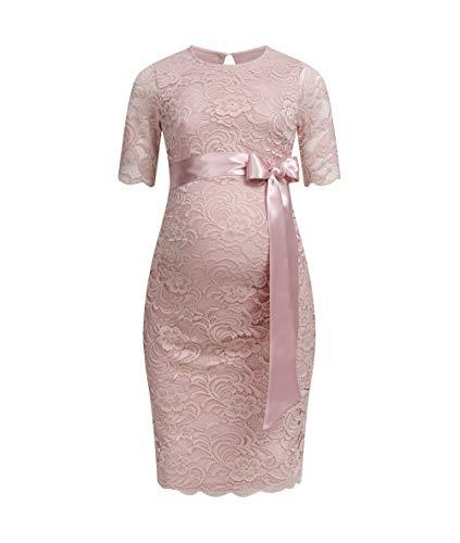 Herzmutter Umstands-Spitzen-Kleid - Elegantes-knielanges-Schwangerschafts-Kleid - für Festliche Anlässe-Hochzeit-Feier - Mit Spitze - Creme-Champagner-Blau-Rot-Rosé - 6200 (Altrosa, M)